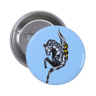 Winged Robot Horse 6 Cm Round Badge