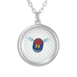 Winged shoe silver plated necklace