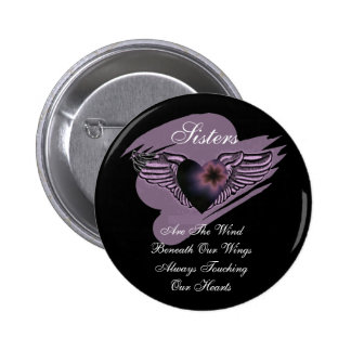 Winged Sisters Heart 6 Cm Round Badge