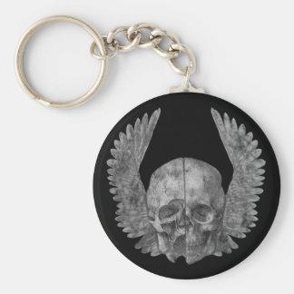 Winged Skull Basic Round Button Key Ring