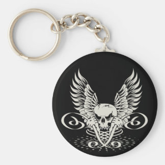 Winged Skull Basic Round Button Key Ring