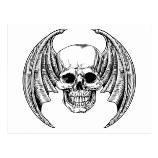 Winged Skull Etching Style Postcard