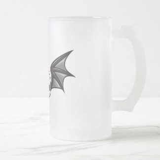 Winged skull frosted glass beer mug
