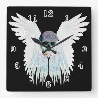 Winged Skull Gothic Design Perfect for Halloween Square Wall Clock