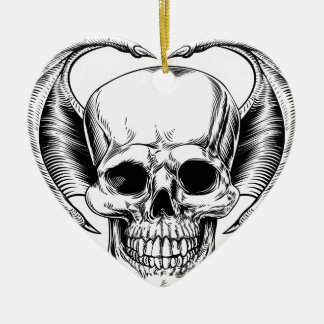 Winged Skull Grim Reaper Ceramic Ornament