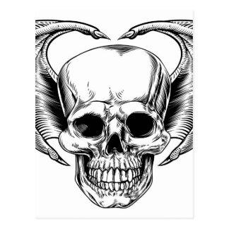 Winged Skull Grim Reaper Postcard
