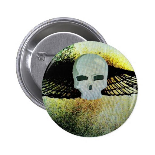 WINGED SKULL PSYCHEDELIC PRINT PINBACK BUTTONS
