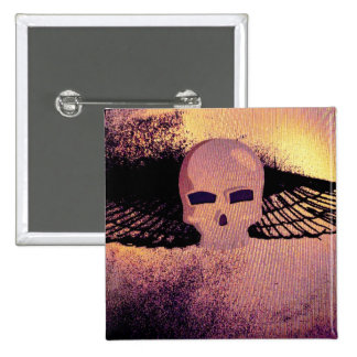 WINGED SKULL PSYCHEDELIC THERMAL PRINT PINBACK BUTTON