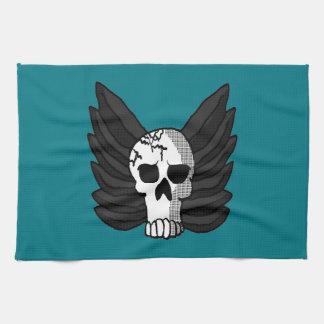 Winged Skull Tea Towel