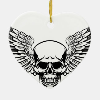 Winged Skull Vintage Engraved Woodcut Style Ceramic Ornament