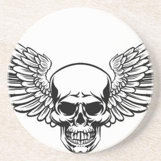 Winged Skull Vintage Engraved Woodcut Style Coaster