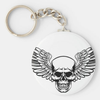Winged Skull Vintage Engraved Woodcut Style Key Ring