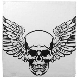 Winged Skull Vintage Engraved Woodcut Style Napkin