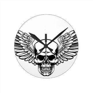 Winged Skull Vintage Engraved Woodcut Style Round Clock
