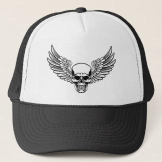 Winged Skull Vintage Engraved Woodcut Style Trucker Hat