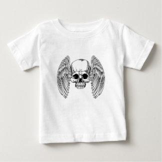 Winged Skull Vintage Retro Woodcut Style Baby T-Shirt