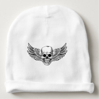 Winged Skull Vintage Woodcut Etched Style Baby Beanie