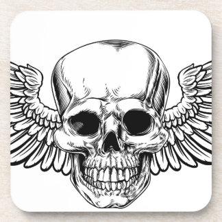 Winged Skull Vintage Woodcut Etched Style Coaster