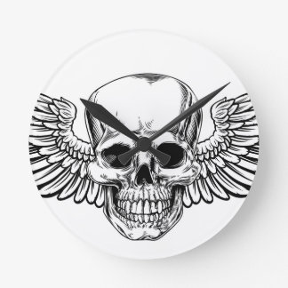 Winged Skull Vintage Woodcut Etched Style Round Clock