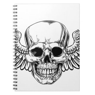 Winged Skull Vintage Woodcut Etched Style Spiral Notebook