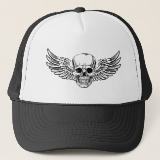 Winged Skull Vintage Woodcut Etched Style Trucker Hat