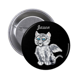 Winged  Snow Leopard 6 Cm Round Badge