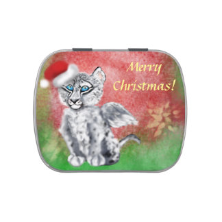 Winged  Snow Leopard Candy Tins