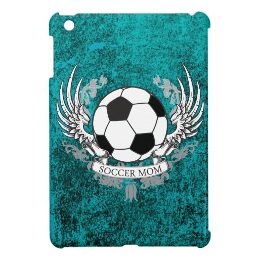 Winged Soccer Mom Teal Distressed Stone Case Cover For The iPad Mini
