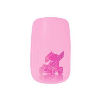 Winged Sprint Car Pink Reflection Nail Wrap