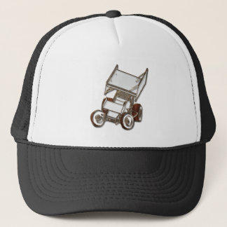 Winged Sprint Car White Colored Trucker Hat