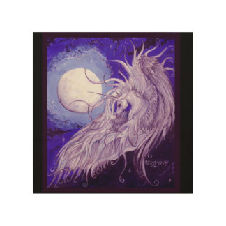Winged Unicorn in front of Moon Wood Wall Decor