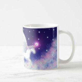 Winged unicorn with stars coffee mug