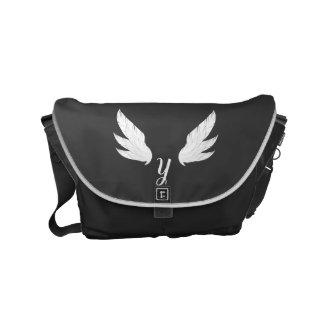 Winged White Monogram   Messenger Bag