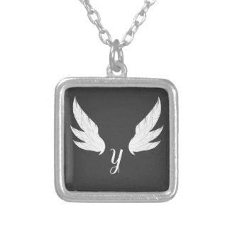 Winged White Monogram   Necklace