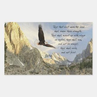 Wings As Eagles Isaiah 4o:31 Rectangular Sticker