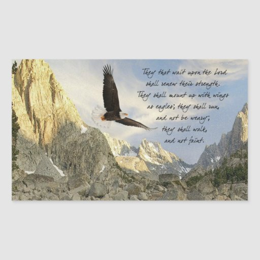 Wings As Eagles Isaiah 4o:31 Rectangular Stickers