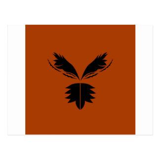 Wings black ethno on brown postcard