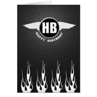 Wings & Flames : Biker Birthday Card