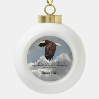 WINGS LIKE EAGLES CERAMIC BALL CHRISTMAS ORNAMENT