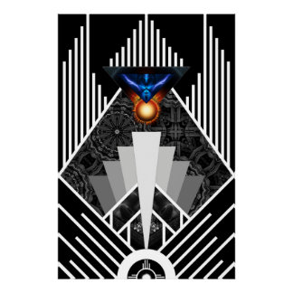 Wings Of Lightning Deco Mech Flare Archival Poster