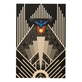 Wings Of Lightning Deco Mech Flare Wood Canvas