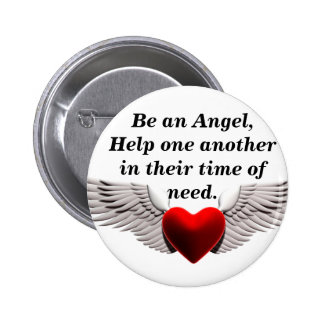 Wings of Love, Be an Angel,Help one anotherin t... 6 Cm Round Badge