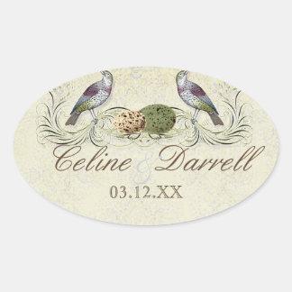 Wings of Love Invitation -Wedding Small Wine Label Oval Sticker