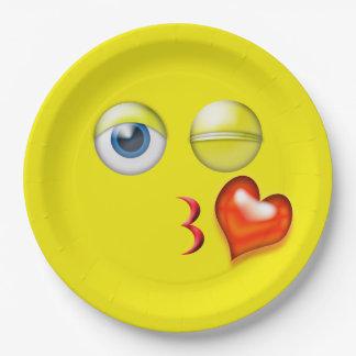 Wink Blow Kiss Emoji 9 Inch Paper Plate