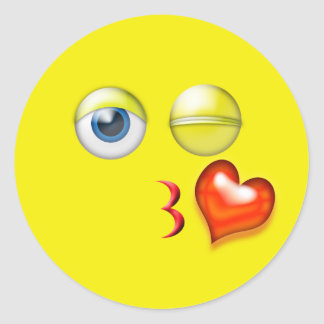 Wink Kiss Emoji Classic Round Sticker