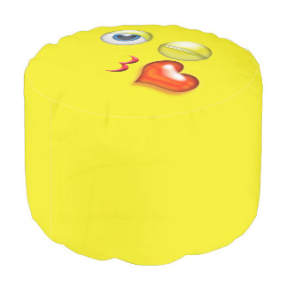 Wink Kiss Emoji Pouf