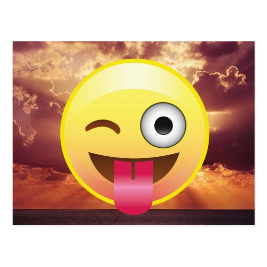 Wink Tongue Out Emoji Ocean Sunset Postcard
