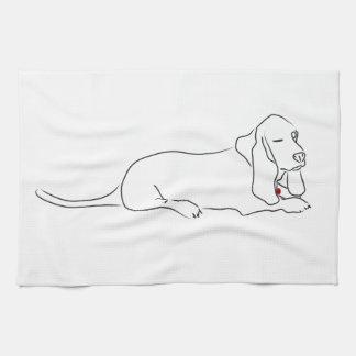 Winking Basset Hound Tea Towel