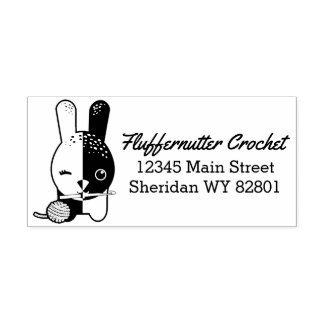 Winking bunny crochet hook yarn address stamp