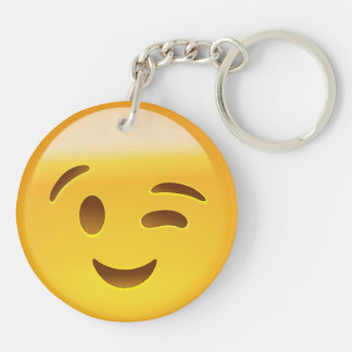 Winking Face Emoij Double-Sided Round Acrylic Key Ring